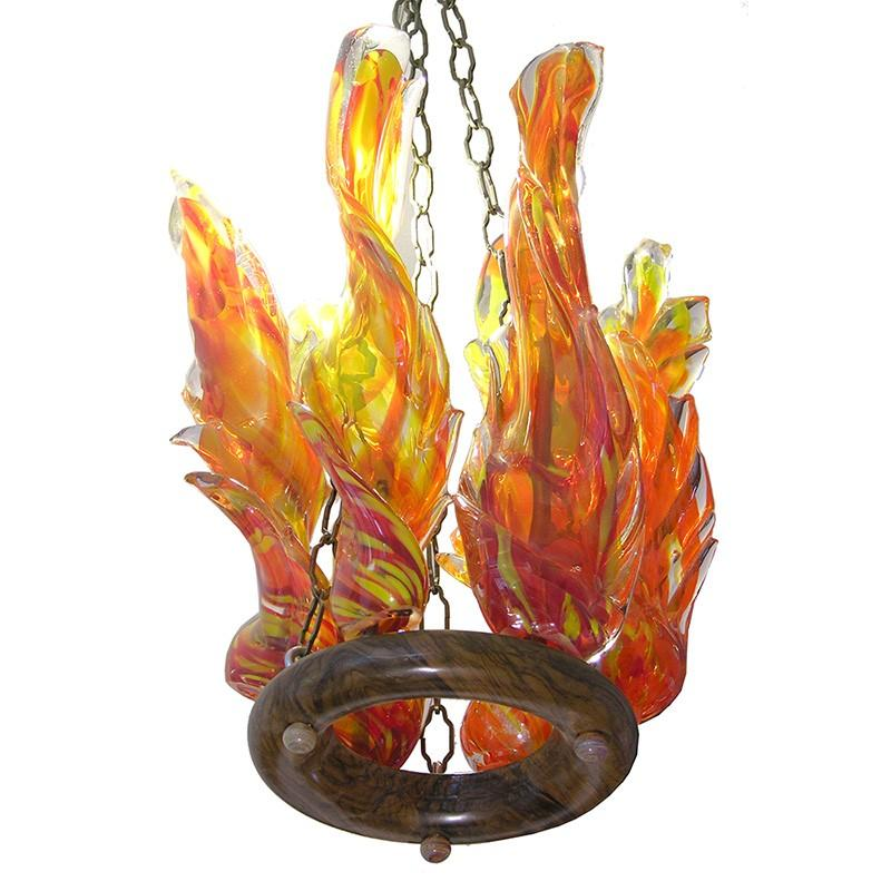 glass blown ner tamid with flames