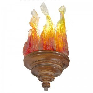 mahogany and blown glass flames ner tamid