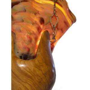details of olive wood ner tamid with blown glass in lapiz color