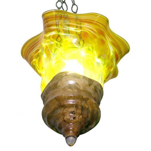 olive wood burl ner tamid gold light