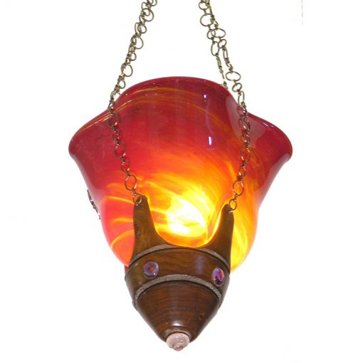 Red ner tamid blown glass in mold