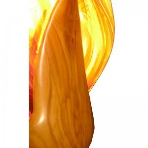 olive wood and blown glass mold ner tamid