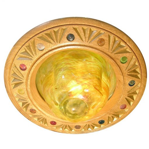 Blown Glass Ner Tamid with carving and glass inlays