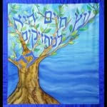 Parochet for aron kodesh silk painted
