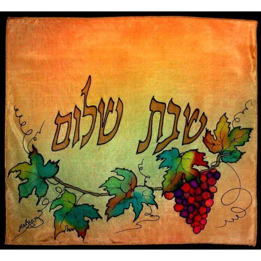 pomegranates and grape vines silk painted curtains for mechitzah painted shabbat curtain
