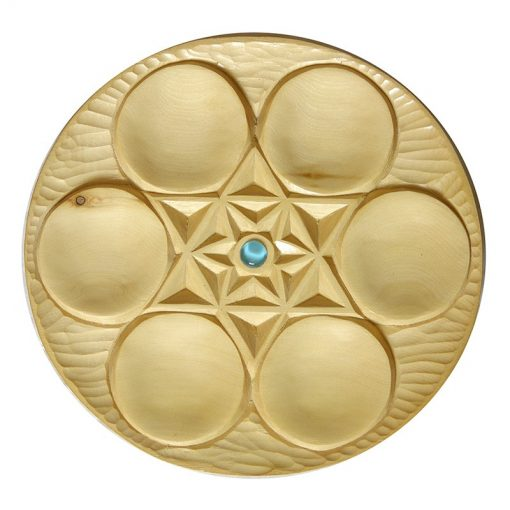 Carved cedar wood seder plate for passover with glass inlay