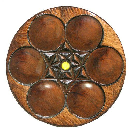 Carved cedar wood seder plate for passover dark finish