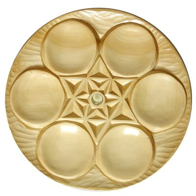Carved cedar wood seder plate for passover