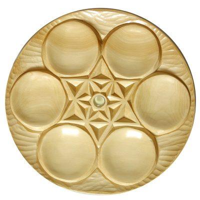 Carved cedar wood seder plate for passover