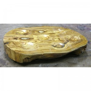 hand carved olive wood with light grain seder plate