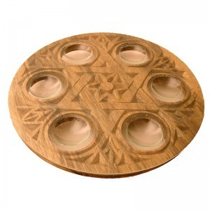 shaped glass seder plate for passover in light finish