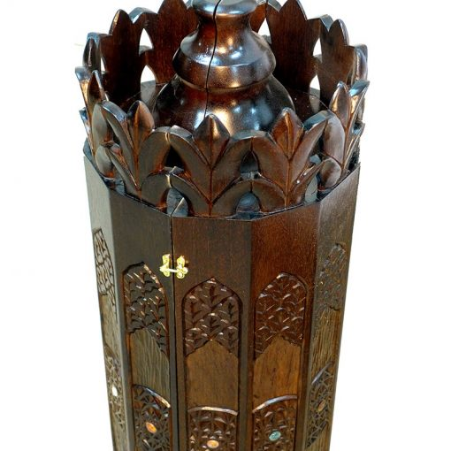 sephrdi torah case with carving and twelve tribes crown