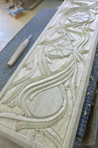 Shem Tov carving in progress