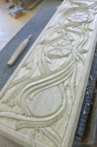 Shem Tov carving in progress