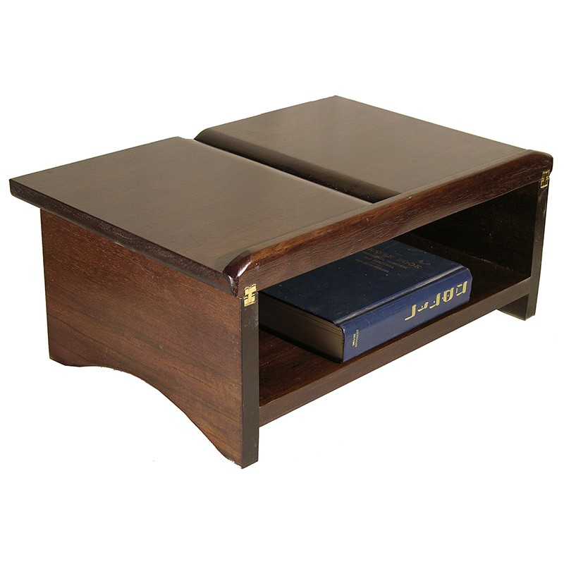 Folding Table Top Shtender In Dark Wood Stain And Brass Hinges