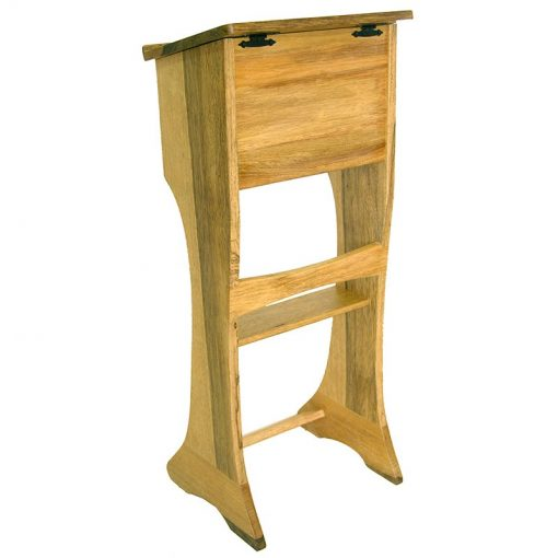 back of solid wood shtender with storage on top