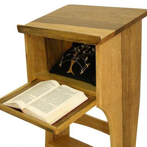 box on top of shtender for sitting and studying and storage space for teffillin