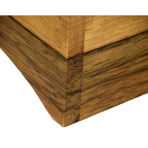joinery detail of matching african walnut wood stand