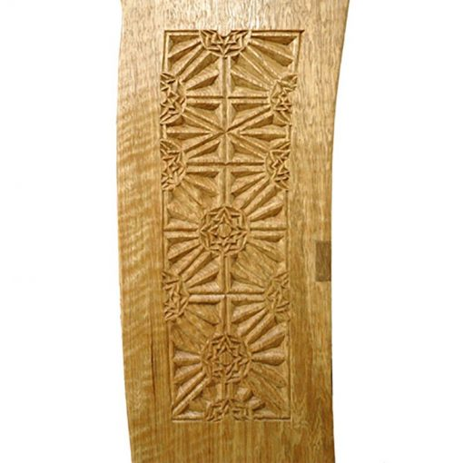 detail carving of light walnut shtender wiht sephirot carving and natural finish