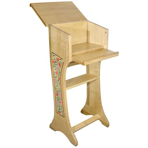 carved and painted floral reading stand open