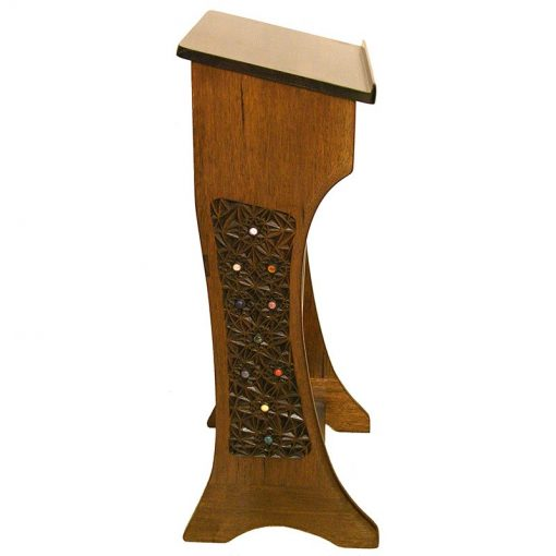profile view of shtender from sold wood and carved sephirot