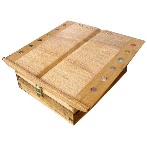 table top shtender from solid wood with twelve tribes inlays