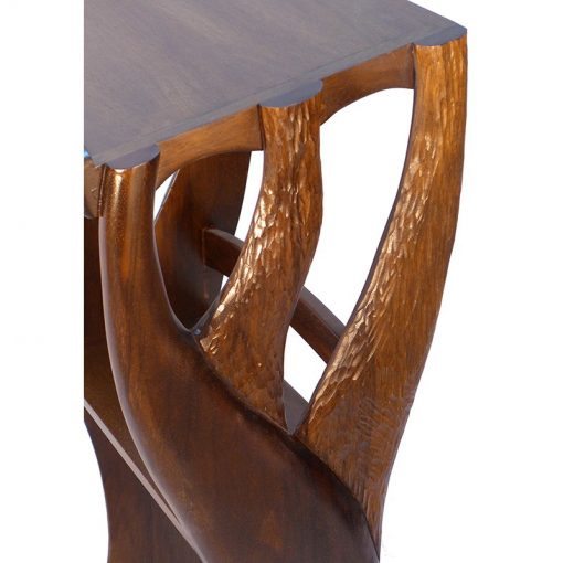 carving detail of solid wood joinery stand