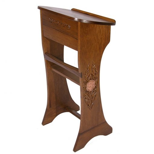 solid wood carved and copper plate shtender for synagogue lectern