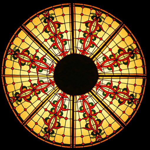 stained glass domed lighting gold red