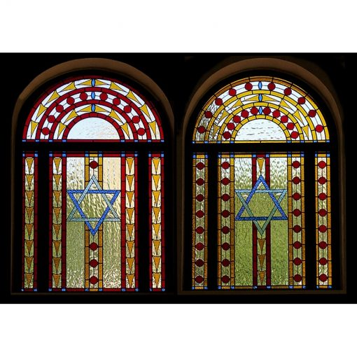 pair of stained glass windows for synagogue in Israel