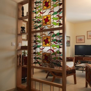 Stained glass door room seperator