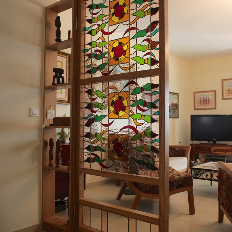 Stained glass doors custom designed stained glass door room seperator planetlyrics Choice Image