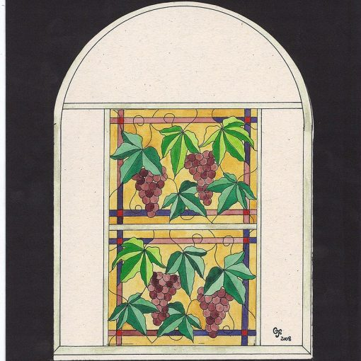 grape design for stained glass windows at synagogue