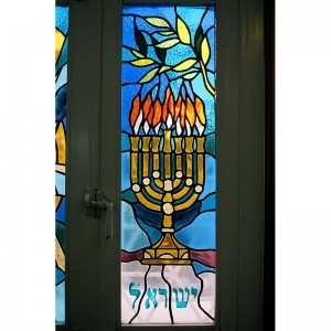 Stained glass windows for synagogue in Israel menorah
