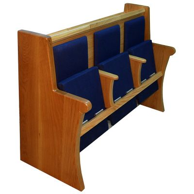 solid oak synagogue pews with upholstered seats