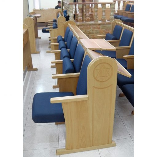 profile of standard synagogue seating with upholstered seats