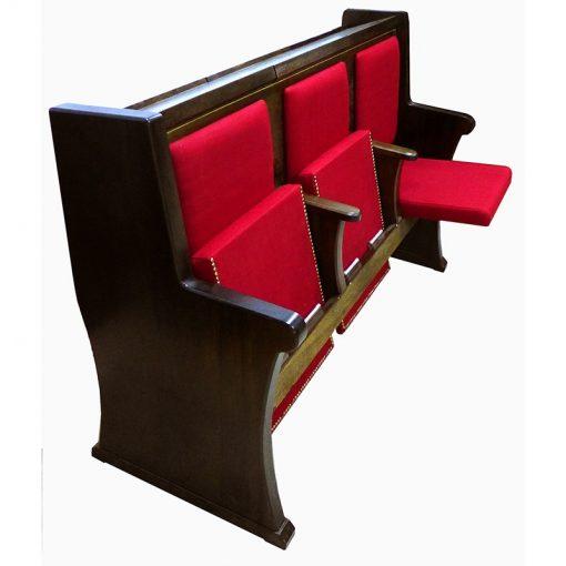 sephardi synagogue seating upholstered with storage on back