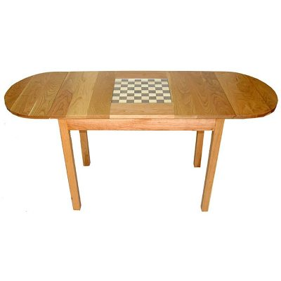 cherry wood chess table with extending wings