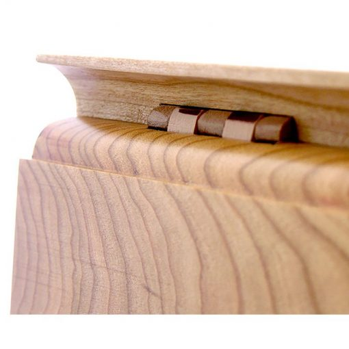 Inlayed cherry wood hinges on chess table