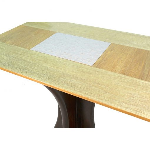 contemporary solid wood table with pedestal base