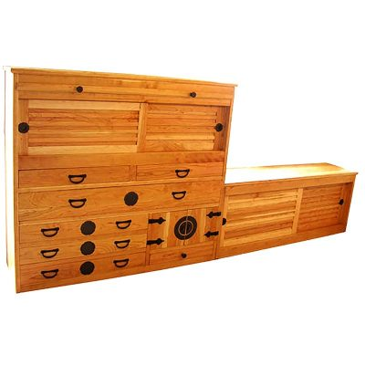 solid cherry wood tansu cabinet with hand forged hardware and plates