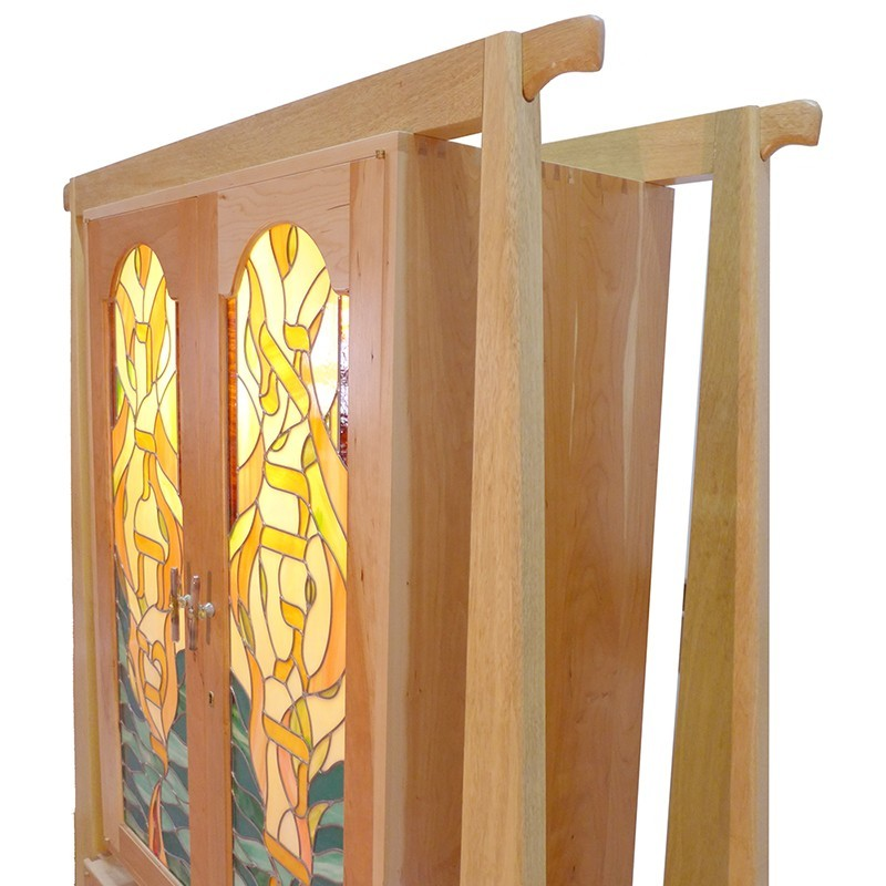 Hanging cherry wood torah ark