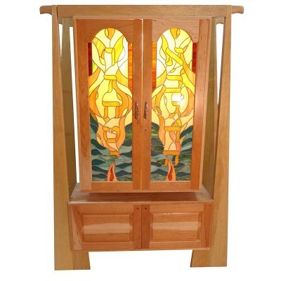 Cherrywood torah ark with stained glass