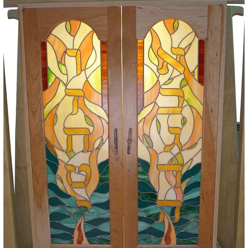 ten commandments in stained glass torah ark doors