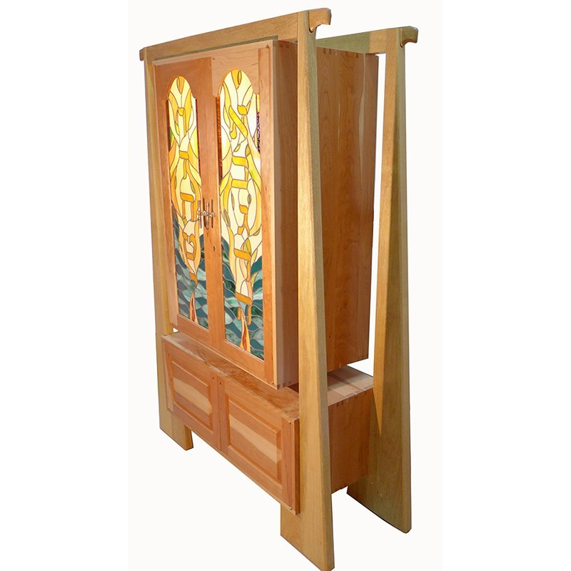 torah ark side view of cherrywood and stained glass