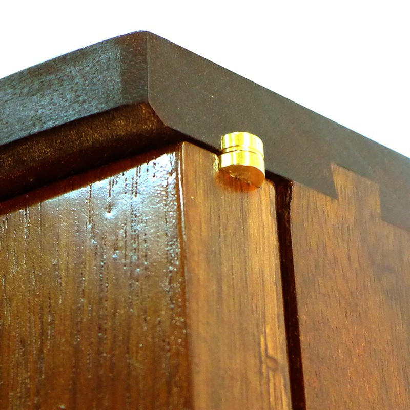 curved solid wood door aron kodesh with dovetail joinery and brass hinges