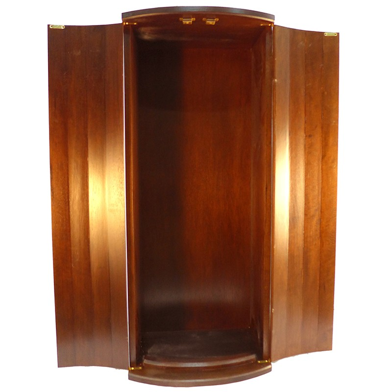 curved solid wood door aron kodesh with doors open for wall mounting