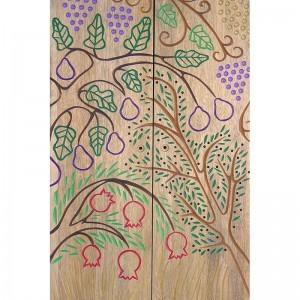seven species carved doors portable wood torah ark