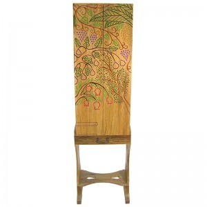 seven species portable carved wood torah ark