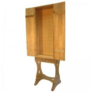 seven species portable carved wood torah ark with doors open